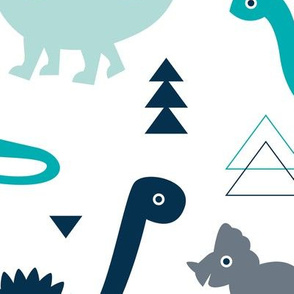 Adorable dino boys fabric with navy and blue dinosaur geometric triangles and funky animal illustration theme for kids LARGE Jumbo