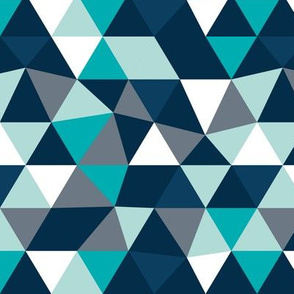 Pastel modern geometric triangle pattern blue navy