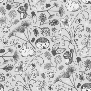 Winter Woodland Creatures in Black & White - large