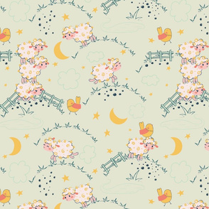 Playful Sheep and Birds Animals For Kids,  fabric for Baby,  fabric forBabies, Children, bright color
