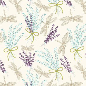 Doodle Floral Dragon Fly  and Lavender Soft Art Simple, Light, Clean, Small Flowers