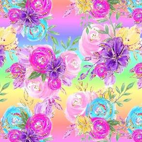 Neon flowers rainbow roses bright