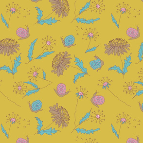 Doodle snail and flowers soft floral yellow colorful small flowers kids, children, young