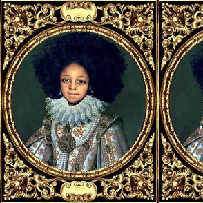 2 victorian baroque renaissance portraits tudor young black woman lady girl teenager african descent POC people of color WOC afro hairstyle hair textured gold filigree ornate gilt Queen Elizabeth 1 inspired princess  medallion frames border white gown pea