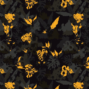 Panther Camouflage Sophisticated Botanical Art Dark Background