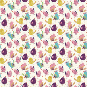 Funky Birds Cute Art For Kids,  fabric for Baby,  fabric for Babies,  fabric for Children, colorful background, funny fabric for kids