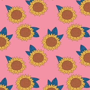 Sweet sunflower and leaves botanical autumn winter garden pink yellow blue trend