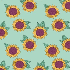 Sweet sunflower and leaves botanical autumn winter garden mint green yellow