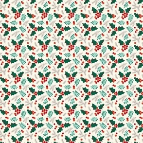 Christmas holly and berries on creme (mini)