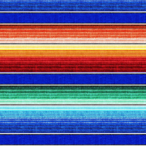 (small scale) serape southwest stripes - blue -  LAD19