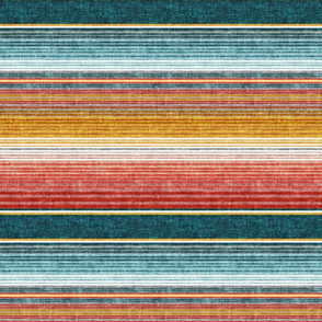 (small scale) serape southwest stripes - teal -  LAD19