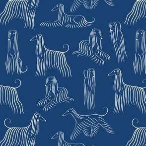 Afghan Hounds Pattern (Navy Background)