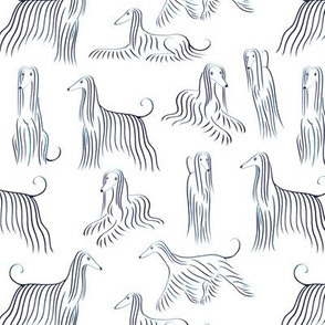 Afghan Hounds Pattern (White Background)
