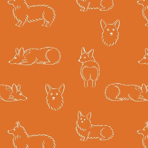 Corgi Pattern (Orange Background)