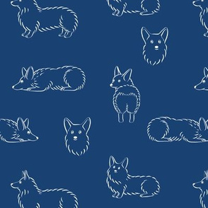Corgi Pattern (Navy Background)