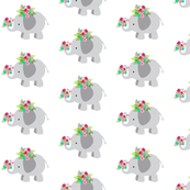Elephants- gray floral MED54
