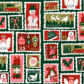 christmas postage stamps - vintage style christmas stamps - holiday stamps - snowman fabric, father christmas- dark green