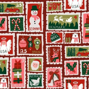 christmas postage stamps - vintage style christmas stamps - holiday stamps - snowman fabric, father christmas- dark red