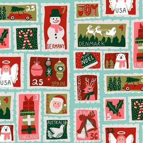 christmas postage stamps - vintage style christmas stamps - holiday stamps - snowman fabric, father christmas- light mint