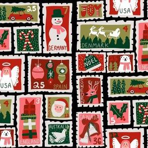 christmas stamp 5christmas postage stamps - vintage style christmas stamps - holiday stamps - snowman fabric, father christmas- black