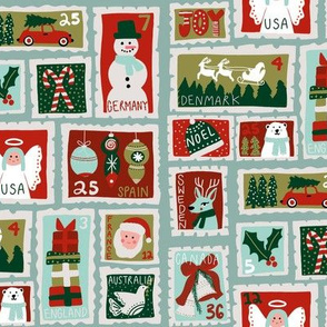 christmas postage stamps - vintage style christmas stamps - holiday stamps - snowman fabric, father christmas- light blue