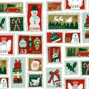 christmas postage stamps - vintage style christmas stamps - holiday stamps - snowman fabric, father christmas- white and mint