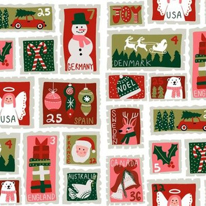christmas postage stamps - vintage style christmas stamps - holiday stamps - snowman fabric, father christmas-white