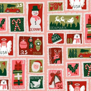 christmas postage stamps - vintage style christmas stamps - holiday stamps - snowman fabric, father christmas- pink