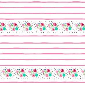 shabby floral border lines MED84 -  pink