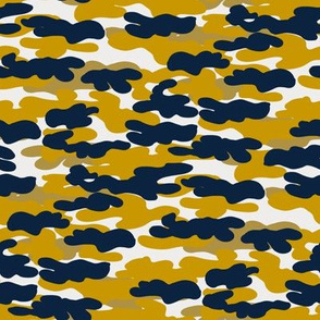 notre dame camo - blue and gold camo fabric, camouflage fabric, college sports fabric