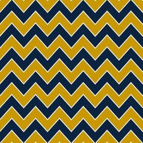 notre dame chevron - blue and gold fabric, chevron fabric