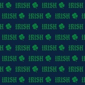 irish -  navy and green shamrock fabric