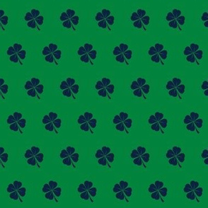 notre dame shamrock fabric - blue and irish green, irish fabric, fighting irish fabric, notre dame - blue