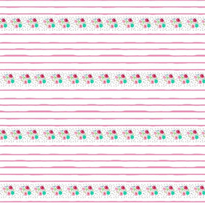 shabby floral border lines SMALL42 -  pink