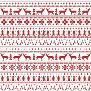 SMALL - christmas deer fair isle traditional holiday fabric winter antlers red