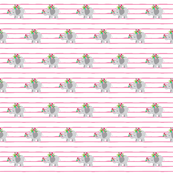 gray elephant shabby floral  SMALL36 -  pink stripes