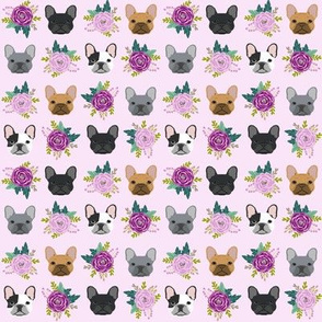SMALL - french bulldog fabric purple lavender pastel purple frenchie dogs and florals fabric