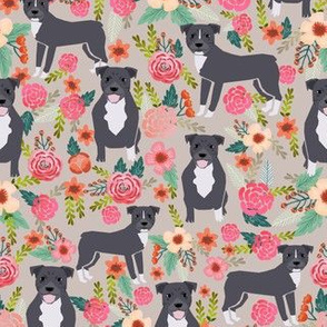 pitbull terriers florals french gray pitbull dogs cute dog rescue dogs fabric