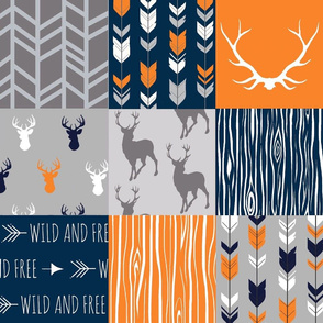 Patchwork deer (no little one) - orange, navy, grey