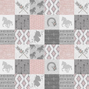 """3"""" boho horse quilt - pink and grey"""