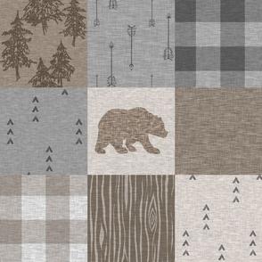 Rustic Bear - brown and grey