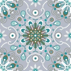 pointillism mandala | Light blue, green and gray