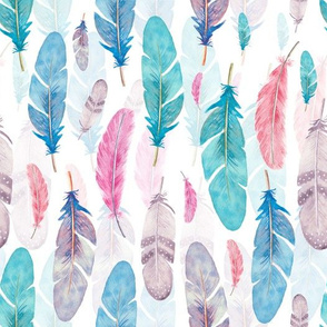 Watercolor fethers pattern