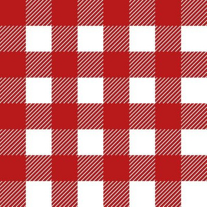 gingham red white buffalo checks 1 inch