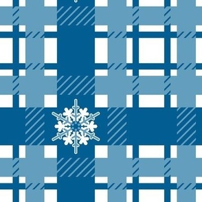 winter plaid with snowflakes blue