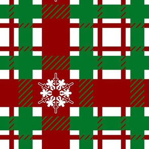 Christmas Plaid with Snowflakes, green and red