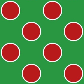 large polka dots  red and white on green