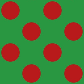 Large polka dots in red on green