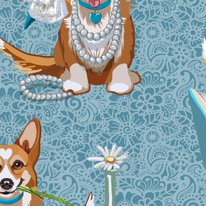 Tea with Corgi | Large | Blue