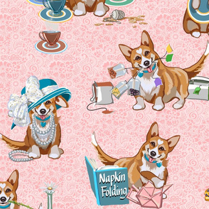 Tea with Corgi | Large | Pink